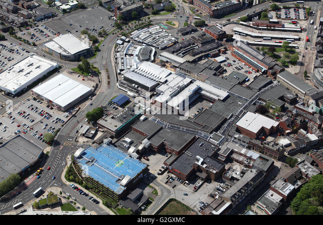 aerial view of Bury town centre, Lancashire, UK - Stock Image
