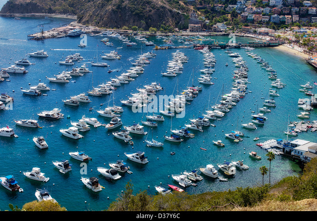 Boats in Catalina Harbor. Catalina Island, California - Stock Image