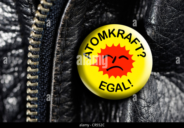 Leather jacket with a badge, Atomkraft? Egal!, German for Nuclear Power? Who cares! - Stock Image
