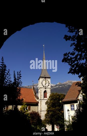 Switzerland chur steeple church - Stock Image