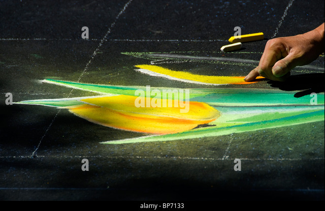 Artist at work at the Italian Youth Street Painting Festival, San Rafael, California - Stock Image