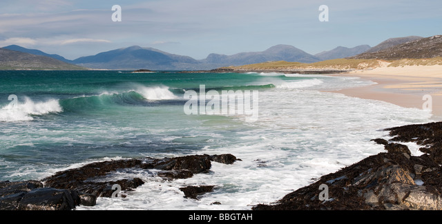 Traigh Lar beach, Isle of Harris, Outer Hebrides, Scotland. Panormaic - Stock Image