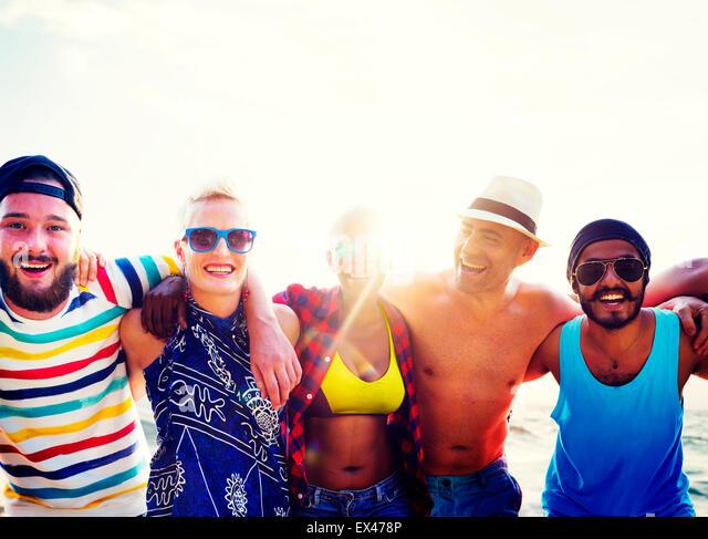 Diverse People Friends Fun Bonding Beach Summer Concept - Stock Image