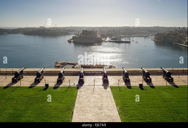 Saluting Battery from the Upper Barrakka Gardens, Valletta, Malta, - Stock Image