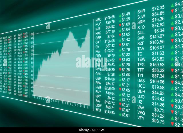 Virtual display monitoring financial stock market prices - Stock Image