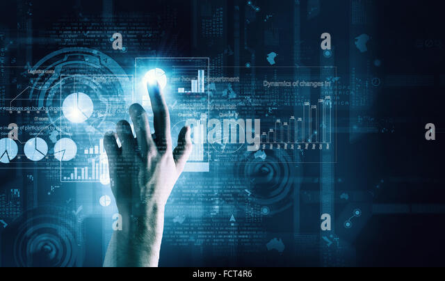 Close up of businessman touching virtual panel with finger - Stock Image