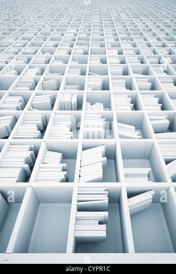 endless white shelves (illustrated concept) - Stock-Bilder