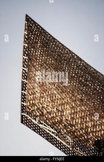 Detail of Copper Fish, Peix ,  Frank Gehry, Barcelona, Catalunya, Spain - Stock Image