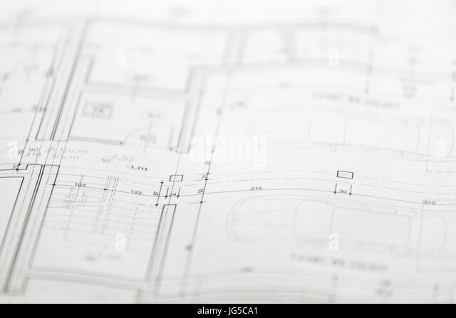Close up of architectural sketches of a new house - Stock Image