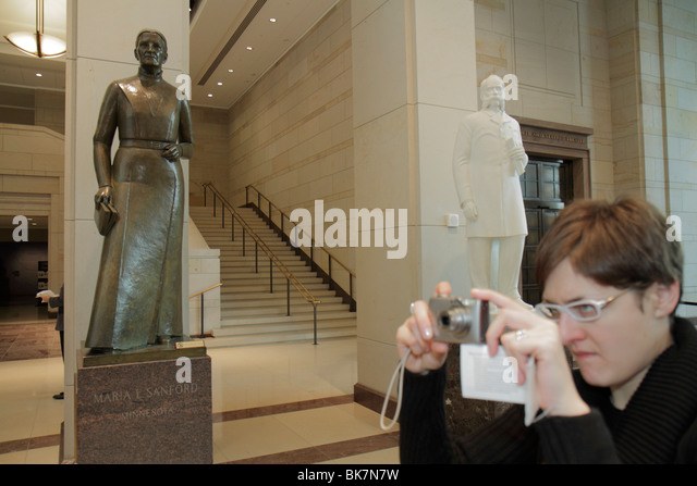 Washington DC United States US Capitol Emancipation Hall Visitor Center woman taking picture Maria Sanford Minnesota - Stock Image