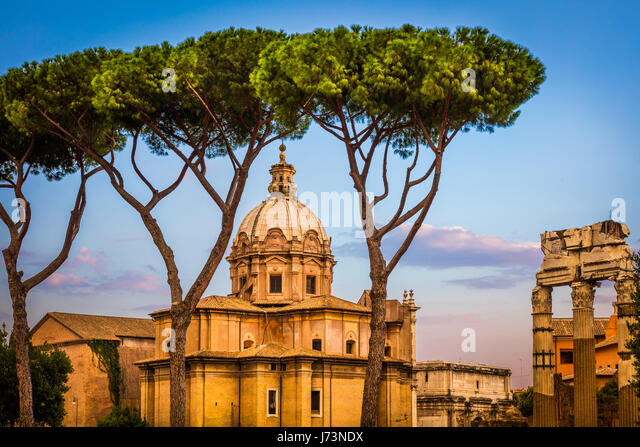 Santi Luca e Martina is a church in Rome, Italy, situated between the Roman Forum and the Forum of Caesar and close - Stock Image