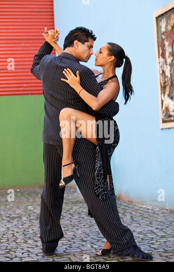MR Tango Dancers, outdoors at Caminito, popular tourist walkway at La Boca, Buenos Aires, Argentina, South America - Stock Image