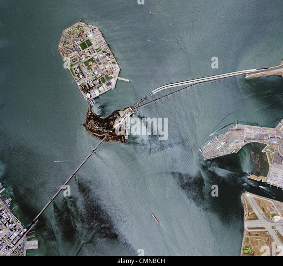 aerial photograph of San Francisco Oakland Bay Bridge - Stock Image