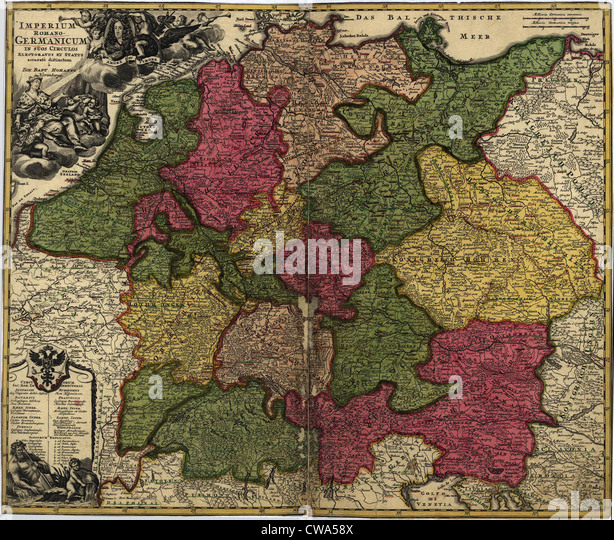 Map of German States, then the Holy Roman Empire, from the early 18th century. - Stock Image