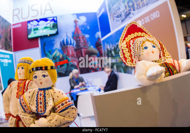 Madrid, Spain. 20th January, 2016. Fitur, International Travel and Tourism Fair, at IFEMA. Stand Russia. Credit: - Stock Image