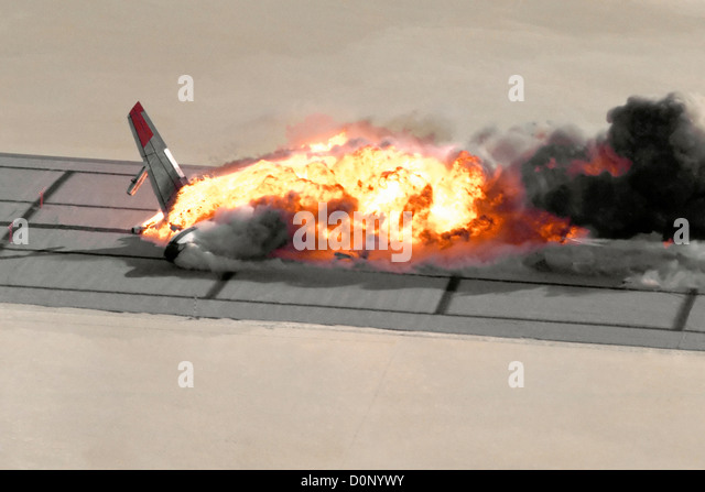 Fireball of Crashed Boeing 720 - Stock Image