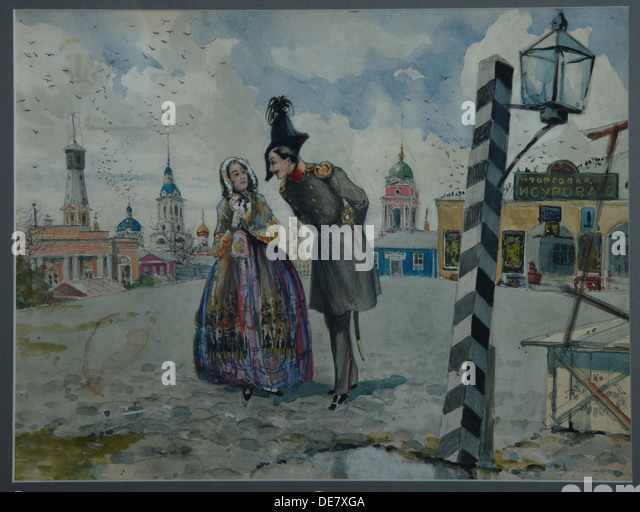 In the Province, 1900s. Artist: Lozhkin, A.V. (active early 20th cen.) - Stock Image