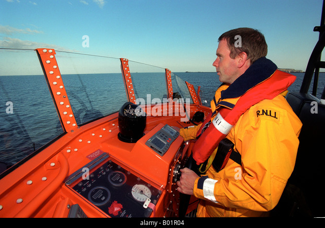 Coxswain of RNLI Lifeboat, Britain, UK - Stock Image