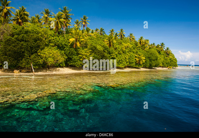 Crystal clear water and an islet in the Ant Atoll, Pohnpei, Micronesia, Pacific - Stock Image