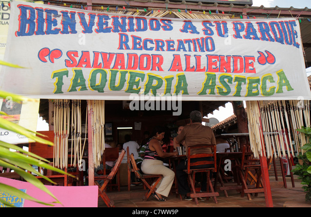 Managua Nicaragua El Malecon Puerto Salvador Allende Lake Xolotlan inland port recreational area Taqueria Asteca - Stock Image