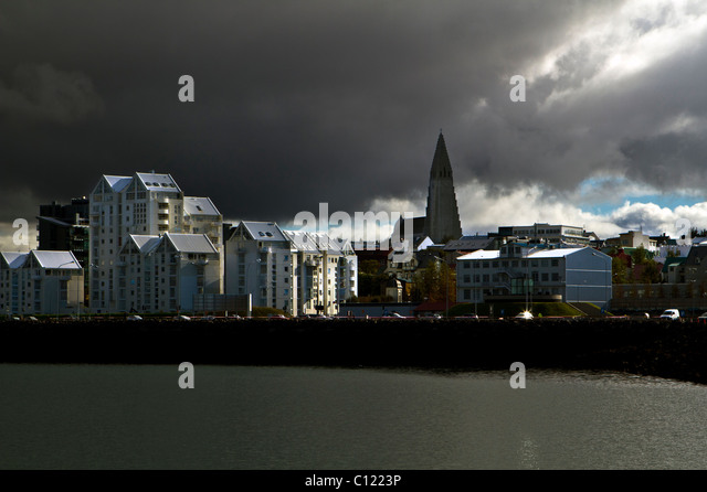 Reykjavík, Iceland, from a whale watching boat in the harbour - Stock Image