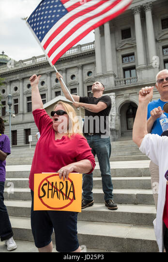 Harrisburg, Pennsylvania - About 50 members of ACT for America rallied on the steps of the Pennsylvania state capitol - Stock Image