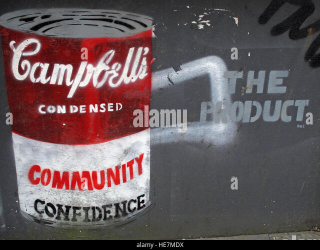 Community Confidence, Campbells,soup tin,Belfast Garfield St       City Centre, Northern Ireland, UK - Stock Image