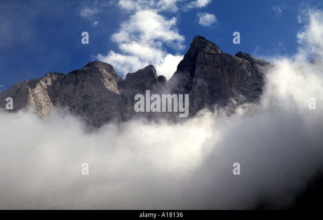 North face of Vignemale above the mists, Pyrenees, France - Stock Image