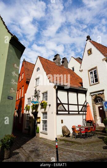 Old buildings in the Schnoor quarter of Bremen, Germany - Stock Image