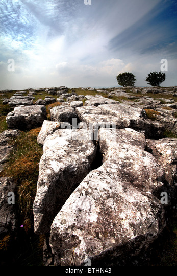 The Yorkshire limestone pavements near Malham in the Yorkshire Dales - Stock Image