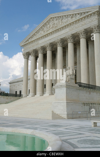 Supreme Court, Building, Washington D.C., District of Columbia, USA, United States, America, columns - Stock Image