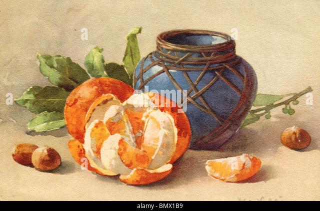 Oranges, Hazelnuts and Ceramic Pot - Stock Image