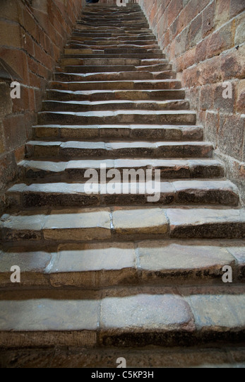 Hexham Abbey, Night Stair in S. Transept (13th C), Hexham, Northumberland, England, UK - Stock Image