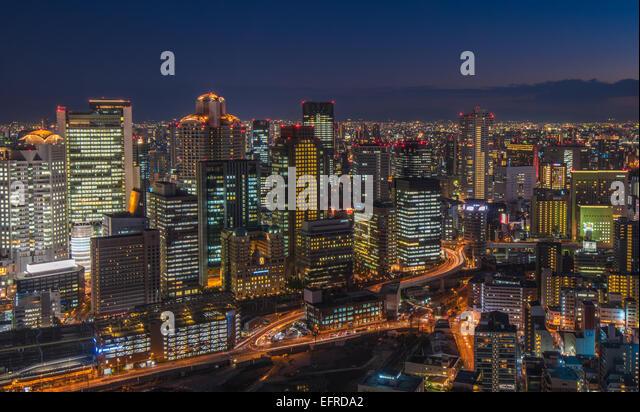 Osaka night skyline - Stock Image