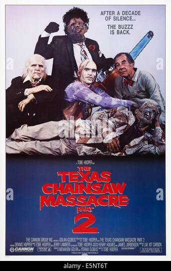 THE TEXAS CHAINSAW MASSACRE 2, US poster, Bill Johnson (rear), center from left: Ken Evert, Jim Siedow, Bill Moseley, - Stock Image