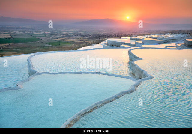 Pamukkale, sunset at the limestone terraces, Turkey - Stock Image