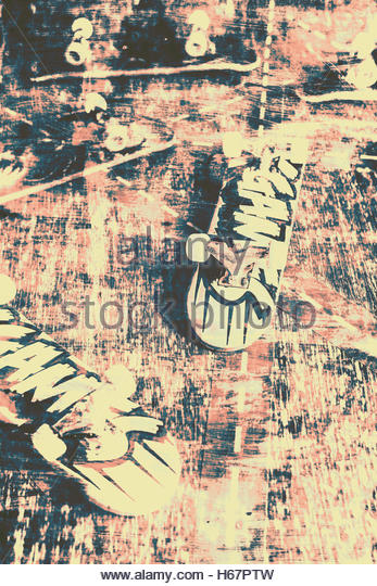 Scratched grimy abstract on a tipped skate board trucks and decks in scratched urban setting. Grunge skateboard - Stock Image