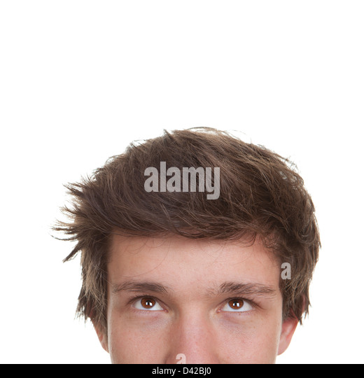 student, young man or teen face looking up - Stock Image