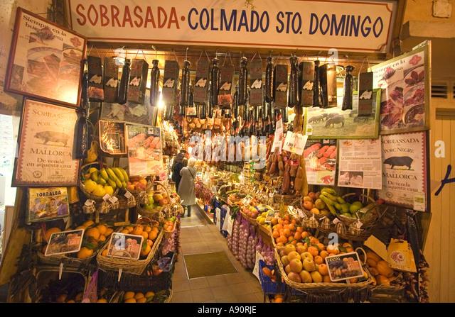 Mallorca Palma de Mallorca historic center Sobrasada Colmado Sto Domingo delicatessen shop - Stock Image