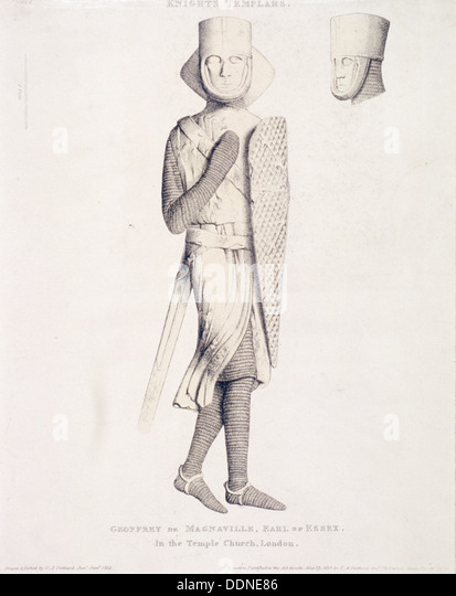 View of the effigy of Geoffrey de Mandeville, Earl of Essex, from Temple Church, London, 1840. Artist: Charles Alfred - Stock Image