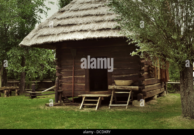 An old and rustic wooden house - Stock Image