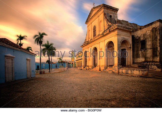 The church of the Holy Trinity bathed in evening light, Plaza Mayor, Trinidad, UNESCO World Heritage Site, Cuba, - Stock Image