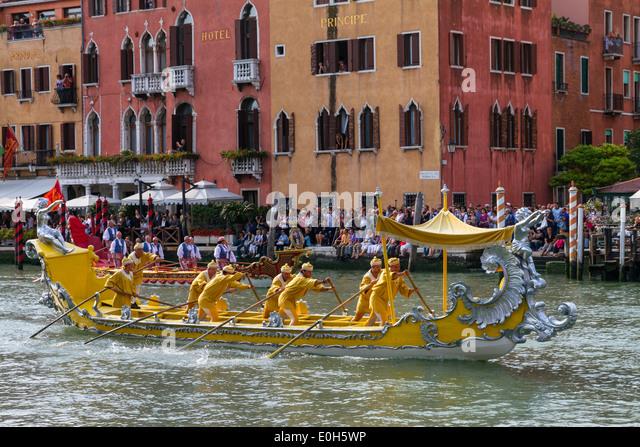 Historic rowing regatta on the Grand Canal, Venice, Venetia, Italy, Europe - Stock Image
