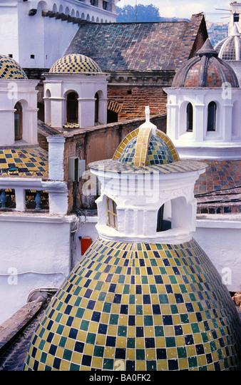 Quito Cathedral and tiled domes, Plaza de la Independencia, Quito, Ecuador, South America - Stock Image