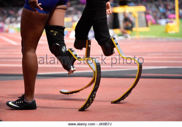 Running blades prosthetics of athletes at the World Para Athletics Championships, London - Stock Image