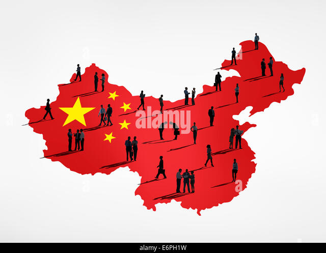 Chinese flag and a group of business people. - Stock Image