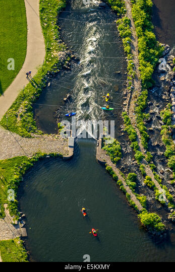 Aerial view, canoeing on the whitewater course at the Lenne river, Hohenlimburg, Hagen, Ruhr district, North Rhine - Stock Image