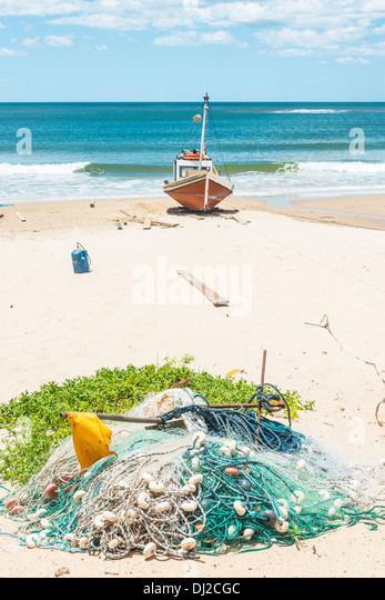 Punta del Diablo Beach, popular tourist place and Fisherman's place in the Uruguay Coast - Stock Image