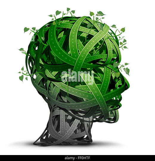 Green transportation thinking and alternative fuel symbol as a group of green roads shaped as a human head representing - Stock Image