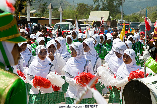 Girls' parade celebrating the Indonesia's Independence Day in Labuanbajo, Flores, Indonesia - Stock Image